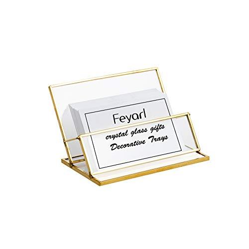 Feyarl Soporte para tarjetas de visita de cristal vintage dorado de metal para tarjetas de nombre, organizador de tarjetas de visita, para almacenamiento de oficina, escritorio o encimera