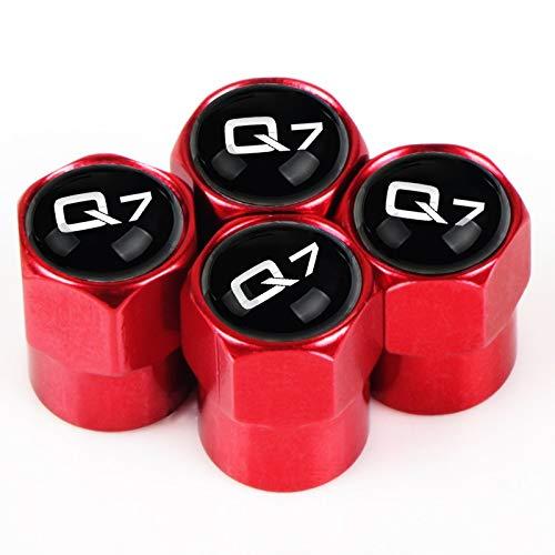 Goquik 4Pcs Auto-Rad-Reifen-Luftventilkappen-Abdeckung Mit Farbe for Audi A4 A3 A6 Q3 Q7 TT (Color : Q7 red small)