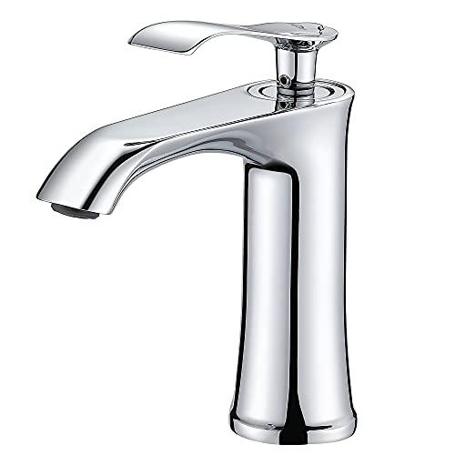 Auralum Wasserhahn Bad Design mit Geräuscharmem Keramischem Ventilkern, Badarmatur Mischbatterie Einhand Waschtischbatterie Waschtischarmatur für Waschbecken&Badezimmer, Chrom