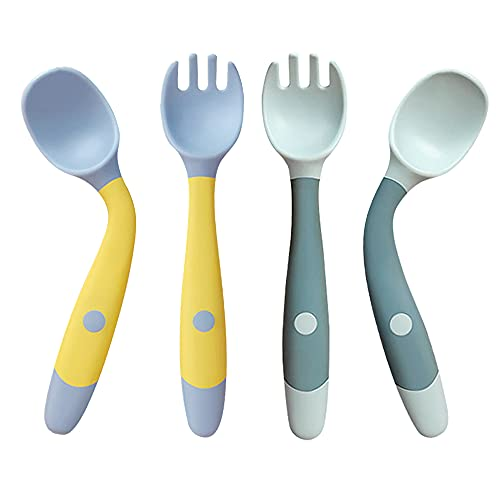 Toddler Utensils with travel case, Baby spoon and fork set for self-feeding Learning Bendable handle silverware for kid children (2 set, yellow&green)