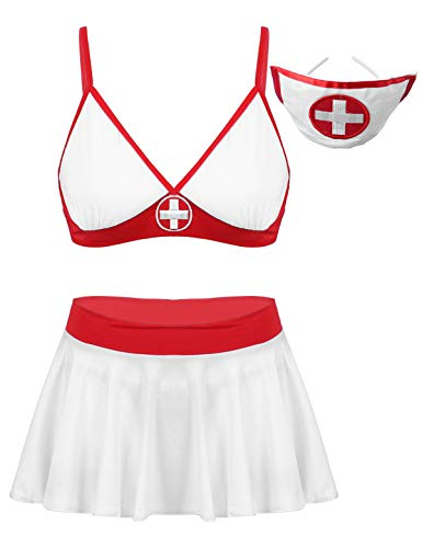 CHICTRY Damen Krankenschwetser Kostüm Sexy Dessous Set BH Minirock String Stirnband Krankenhaus Uniform Cosplay Halloween Karneval Weiß M
