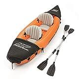 YQDS Barca Hinchable Kayak Inflable Lancha Bote Inflable 2 Personas con remos de Aluminio Asiento cómodo Adecuado para Pesca, Deportes acuáticos, Vacaciones y de Ocio