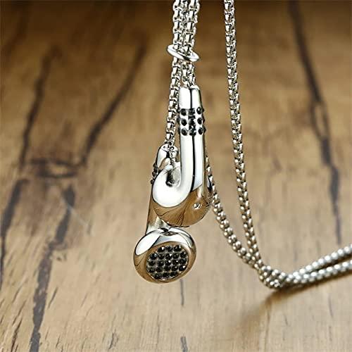 YAMAO Hombre Collar,Collares con Auriculares para Hombre Color Dorado y Plateado Tono Acero Inoxidable Amor Música Colgante Regalos