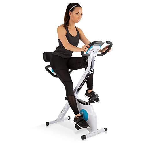 KLARFIT Cyclette Azura Plus 3 in 1-Bici Fitness-Cyclette-Allenamento Cardio-Trasmissione a Cinghia-Resistenza Magnetica 8 Livelli-Supporto Tablet-Bianco