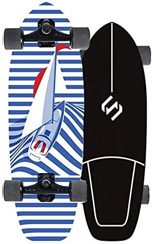 Tarver Skateboard 29 Surf Skateboard Surfskate Deck Kids Mini Cruiser Longboard Boys Boys Principiante El Tablero Montado Completamente Concave Kick Tail Deck 7-Place Maple CX4 Camión Surfboard