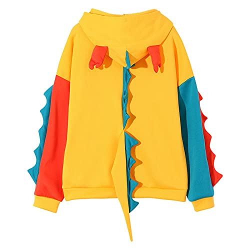 Sudadera con capucha corta para mujer, ligera, con manga larga, talla grande, blusa casual, Amarillo 2., M