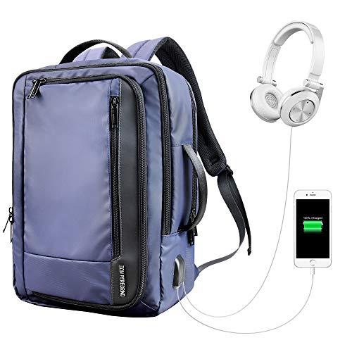 """DONPEREGRINO Impermeabile Zaino Uomo Porta PC 13""""-17"""", 30 L Zaino Viaggio Zaino Lavoro con USB Ricarica & Jack Cuffie"""