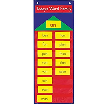 Really Good Stuff Word Family Pocket Chart with 383 Cards and Storage Tub