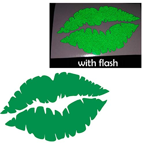 "3"" Green Sexy Lips Kiss Sweet Reflective Decal Vinyl Sticker Safety Night High Visibility for Motorcycle Window Bike Bicycle Car Helmet Trunk Tailgate Self Adhesive Phone Laptop Notebook"