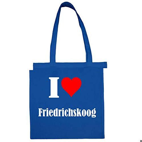Tasche I Love Friedrichskoog Größe 38x42 Farbe Grau Druck Schwarz