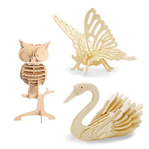 Georgie Porgy 3D Puzzle di Legno Modello Collezione di Modelli Animali Traffico Woodcraft Costruzione Impostato Bambini Giocattoli per Ragazzi e Ragazze età 5+ (3 Pezzo) (Farfalla Cigno Gufo)