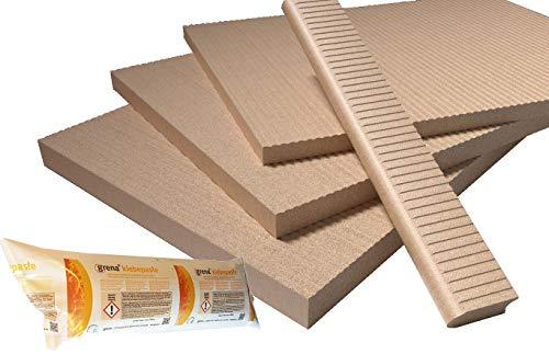 Grenaisol Kaminbauplatte 40 mm Stärke Set aus Platten 60 cm x 80 cm und Kleber (9,60 m² (20 Platten) + 8 Kleber)