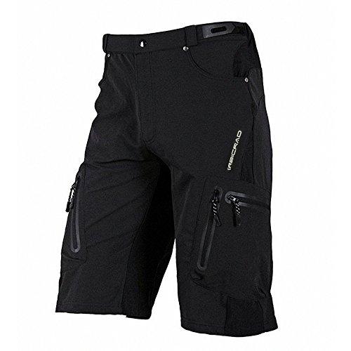 BicRad Herren MTB Shorts Radsport Kurze Fahrrad Hosen Freizeit ohne Sitzpolster (XXL (Taillen-90CM), Schwarz)