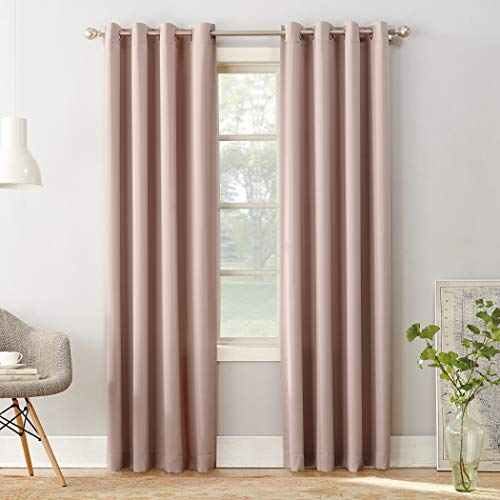 Sun Zero Barrow Energy Efficient Grommet Curtain Panel,Blush Pink,54″ x 84″