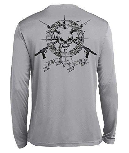 Born of Water Spearfishing/Scuba Diving Shirt: Performance Wicking Long Sleeve: Skull & Spearguns - L