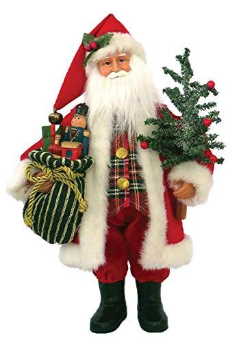 Santa's Workshop 15' Tartan Plaid Santa, RED