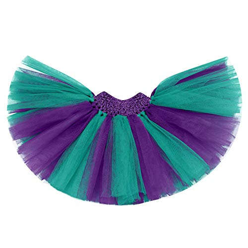 IBAKOM - Conjunto de falda y camiseta de manga corta para bebé y niña, diseño de sirena, con falda y tutú y diadema de 3 piezas Violet 2 12-18 Meses