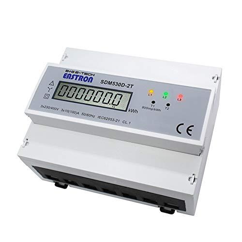 B+G E-Tech SDM530D-2T - digitaler 3 Phasen Tarif LCD Drehstromzähler, Stromzähler für DIN Hutschiene mit S0 Impulsausgang, Zwischenzähler, Doppel (Zwei-) Tarifzähler; CE zertifiziert