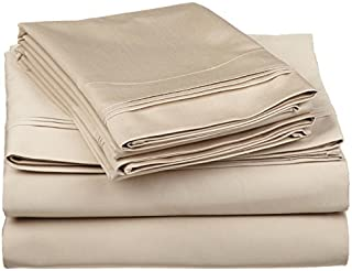 Ethereal Bedding Laura Hill Home Egyptian Cotton Rich 650-Thread Count 4-PC Luxury Sheet Set King Solid Taupe Fit Upto 18'' Inches Deep Pocket