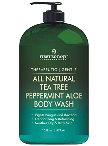 First Botany All Natural Tea Tree Body Wash - Fights Body Odor, Athlete's Foot, Jock Itch, Dandruff, Acne, Eczema, Yeast Infection, Shower Gel for Women & Men, Peppermint Aloe Skin Cleanser 16 oz