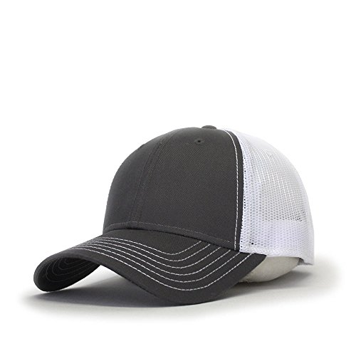 Vintage Year Plain Two Tone Cotton Twill Mesh Adjustable Trucker Baseball Cap (Charcoal Gray/White)
