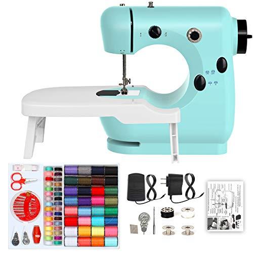T-SUNUS Mini Sewing Machine 2 Speed Portable Electric Sewing Machine with Extension Table, Sewing Kits for Beginner
