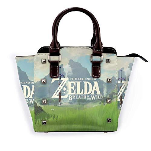 Fashion Pu Leather Rivet The Leg-End of Ze-L-Da Shoulder Bag Tote Bag Shoulder Bag Purse Adjustable Shoulder Strap School Work Travel Gym Shopping