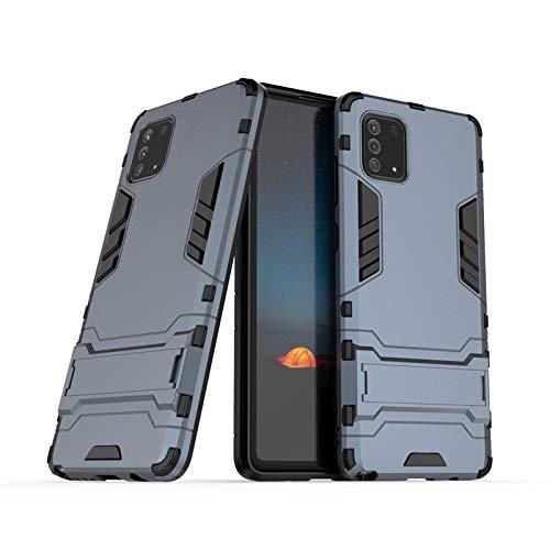 CHENDX Funda para Samsung Galaxy Note 10 Lite, doble capa de TPU suave + PC duro a prueba de golpes Carcasa de armadura protectora con función atril (color azul marino)