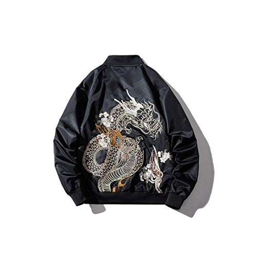 Embroidery Dragon Pattern Baseball Bomber Jacket Coat Tops Blouse Outerwear