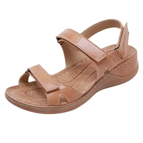 Xuthuly Sommer Frauen Bequeme Weiche Sohle Keil Sandalen Beiläufige Normallack Im Freien Strand Schuhe Einfache Atmungsaktive Sandalen