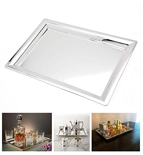 Le'raze Elegant Mirrored Rectangular Silver Tray, Mirrored Tray for Whiskey Decanter, Candle Sticks, Vanity Set, Perfume Tray, and Serving