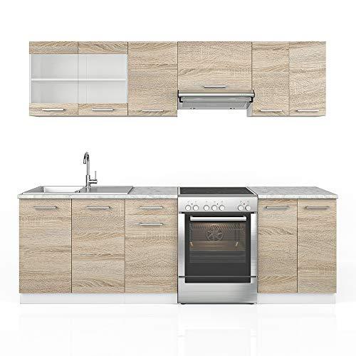 Cucina Vicco Raul Cucina componibile su misura, da 240 cm, di colore bianco