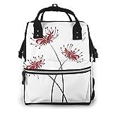 マザーズバッグ Red Spider Lily 彼岸花 曼珠沙華 ママバック おむつトートバッグ ミイラバッグ 大容量 8つのポケット付き 出産準備 お出産祝い One Size