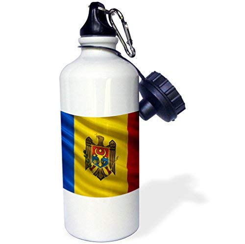 ANGELA G Vlag van Moldavië zwaaien in de wind - Sports Water Bottle, 21oz