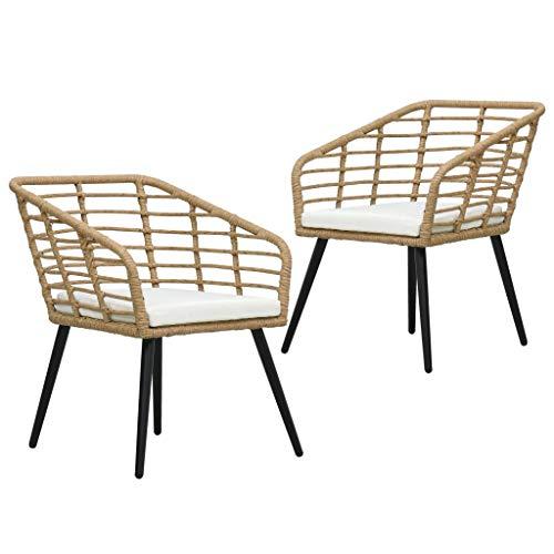 vidaXL 2X Gartenstuhl mit Auflagen Gartensessel Balkonstuhl Stuhl Sessel Rattanstuhl Terrassenstuhl Bistrostuhl Poly Rattan Eichefarben