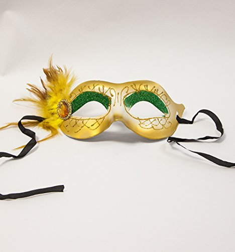 Vénitien Mascarade Masque Parti Boule C – à strass – 4 couleurs + Styles – Les Événements Accessoires 29cm x 8cm to the Widest and Highest Points doré
