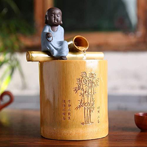 HYLX Décoration de Paysage, taie d'oreiller en Bambou Fontaine à Eau Dessus de Table caractéristique de l'eau Ornement de Jardin Japonais décor à la Maison Zen, A + Hauteur 25 cm