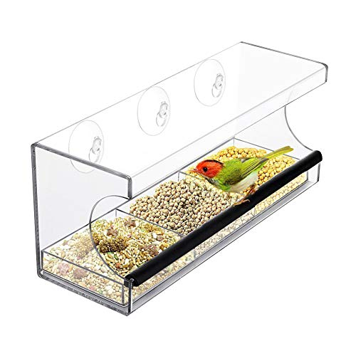 HiCollie 野鳥 餌台 浅型バード食器 吸盤式 止まり アクリル製 透明バード 野鳥観察 餌入れ 水入り 給餌器 小鳥の餌台 バードフィーダー 食器ハンガー 飾り物 ペット用品