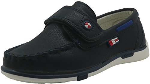 Apakowa Kid's Shoes Boy's Slip on Loafers Casual Boat Flats Hook&Loop Strap Closure and Soft Sole Closed Toe Fashion Style (Color : Navy, Size : 12 M US Little Kid)
