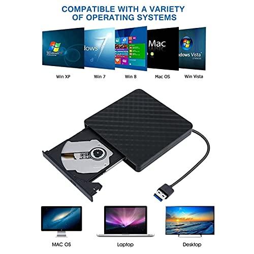 External CD Drive, USB 3.0 Portable CD/DVD +/-RW Drive DVD/CD ROM Rewriter Burner Compatible with Laptop Desktop PC Windows Linux Apple Mac