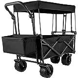 VEVOR Chariot Pliable avec Toit Chariot Portable Pliée 98,5x52x17,8 cm Cadre Acier de Grandes Roues 360° Panier de Rangement 2 Sacs en Filet Transport pour Plage Pique-Nique Camping Barbecue Noir