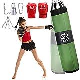 KOSIEJINN Kit de Sacos de Boxeo 5-en-1, 4 pies / 150 cm Juego de Saco Pesado con Guantes de Boxeo de 35 kg para Golpear y Kickboxing, Entrenamiento Pesado Adecuado para niños Adultos