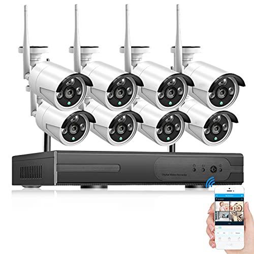 Sistema de cámara de Seguridad inalámbrica, 8CH 1080P NVR 8Pcs Cámara de vigilancia WiFi para Exteriores 2MP con visión Nocturna Alerta de Movimiento a Prueba de Agua (HDD no Incluido)