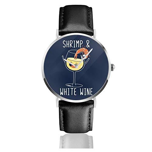 Unisex Business Casual Garnelen und Weißwein-Uhren Quarzuhr mit schwarzem Lederband für Männer und Frauen Young Collection Geschenk