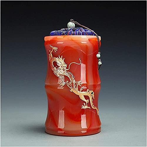 Tarros de almacenamiento Tarro de porcelana Tarro de té de forma de bambú Tarro portátil Contenedor de té Caja de almacenamiento con tapa dorada