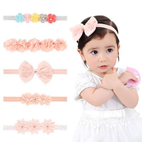 EKKONG 5 Stück Baby Stirnbänder, Baby Haarband, Blumen-Stirnband mit Ripsband für Kleine Mädchen, Weiches Stretch-Stirnband Babyhaarzubehör, Mehrfarbiges Blumenhaarzubehör, Babypartygeschenke