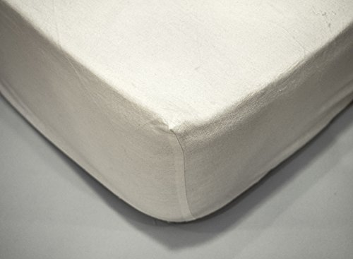 Sabana Bajera Blanca, Ajustable, de Franela, algodón 100%, Cama 90cm.