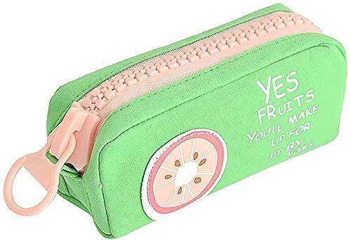 Estuche de Lápices Estuche para lápices Estuche para lápices de gran capacidad para estudiantes universitarias de secundaria (A) Estuche para lápices (Color: Gris 1)-Verde