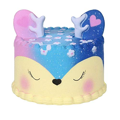 Anxiety Relief Toys Cute Unicorn Cake Scented Squishy Charm Slow Rising Simulation Kid Toy for Key or Cell Phone Pendant Strap (Galaxy Deer Cake 11cm)