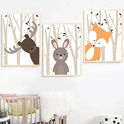 Lindo conejo de dibujos animados zorro ciervo lienzo pintura animal arte de la pared cartel moderno impresiones Interior habitación de bebé decoración del hogar cuadros de pared 40x50cmx3 sin marco